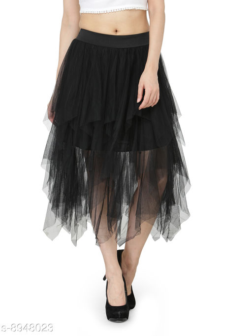 Camey Black Net Long Flared Skirt