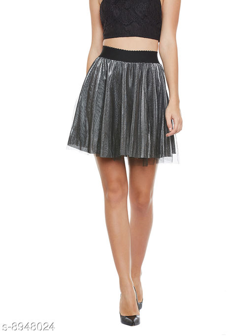 Camey Women Silver Spinning Net Cover Stretch Waist Flared Casual Mini Skirt with Divider Shorts