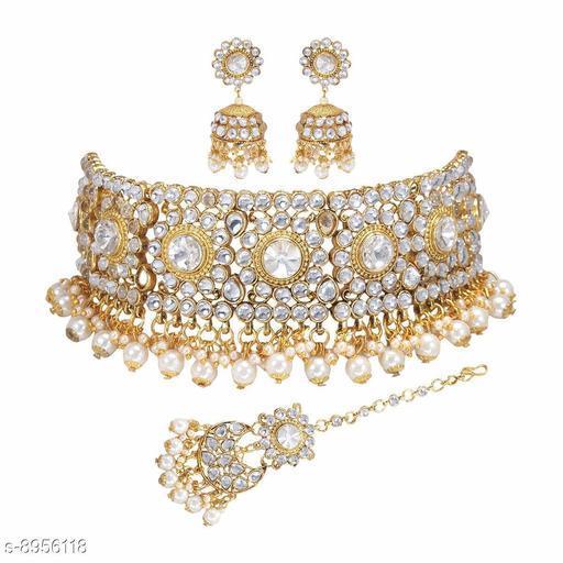 Jewellery Set Asmitta Wedding wear 18 K Gold toned Kundan Beaded Collar Necklace Set with Mang tikka  *Base Metal* Alloy  *Plating* Gold Plated  *Stone Type* Kundan  *Sizing* Adjustable  *Type* Necklace and Earrings  *Multipack* 1  *Sizes Available* Free Size *    Catalog Name: Diva Chic Jewellery Sets CatalogID_1541803 C77-SC1093 Code: 514-8956118-