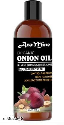 Herbal Products AroMine Premium Herbal ONION Hair Oil - Blend of 14 Natural Oils for Hair Regrowth, Treat hair loss, Dandruff Control & Thickens hair Onion Hair Growth Oil - Nourishing Hair Fall Treatment with 100% Real Onion Extract, Argan Oil, Jojoba Oil, Bhringraj, Shea Butter, Mango Butter and More - Intensive Hair Fall Dandruff Treatment Hair Oil (60 ml) Hair Oil (60 ml) Hair Oil (60 ml)  *Product Name* AroMine Premium Herbal ONION Hair Oil - Blend of 14 Natural Oils for Hair Regrowth, Treat hair loss, Dandruff Control & Thickens hair Onion Hair Growth Oil - Nourishing Hair Fall Treatment with 100% Real Onion Extract, Argan Oil, Jojoba Oil, Bhringraj, Shea Butter, Mango Butter and More - Intensive Hair Fall Dandruff Treatment Hair Oil (60 ml) Hair Oil (60 ml) Hair Oil (60 ml)  *Type* Hair Oil  *Multipack* Pack Of 1  *Flavour* Onion  *Capacity* 60 ml  *Sizes Available* Free Size *    Catalog Name: Product Name: AroMine Sweet Almond Oil 100% Natural, Cold Pressed Therapeutic Grade For Face, Hair and Skin (100ml)  Hair Oil (100 ml) CatalogID_1542002 C50-SC1297 Code: 532-8956842-