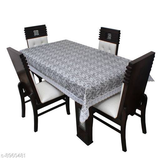 """Dining Table Cover 4 Seater Printed Table Cover With White Lace Size 54""""x78"""" Inches"""