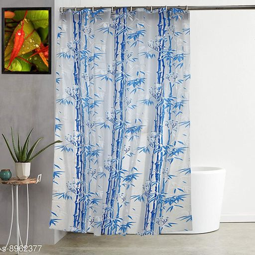 """Bamboo Leaf Design Waterproof Shower Single Curtain for Bathroom, 7 Feet PVC Curtain with 8 Hooks – 54""""x 84"""", Blue Color"""