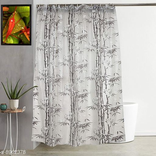 """Bamboo Leaf Design Waterproof Shower Single Curtain for Bathroom, 7 Feet PVC Curtain with 8 Hooks – 54""""x 84"""", Grey Color"""