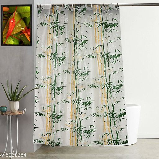"""Bamboo Leaf Design Waterproof Shower Single Curtain for Bathroom, 7 Feet PVC Curtain with 8 Hooks – 54""""x 84"""", Green Color"""
