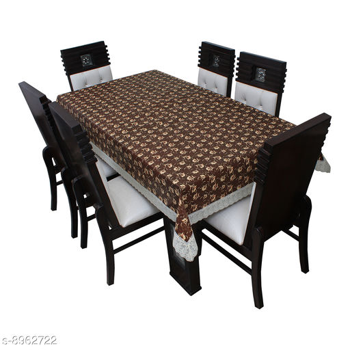 """Dining Table Cover 6 Seater Printed Table Cover With White Lace Size 60""""x90"""" Inches"""