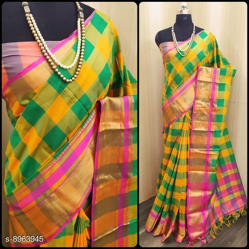 Sarees Beautifull Saree  *Saree Fabric* Handloom Chex Saree  *Blouse* Running Blouse  *Blouse Fabric* Handloom Chex Saree  *Pattern* Embroidered  *Blouse Pattern* Embroidered  *Multipack* Single Free Size (Saree  With Running Blouse )  *Sizes Available* Free Size *    Catalog Name: Banita Pretty Sarees CatalogID_1543815 C74-SC1004 Code: 675-8963945-