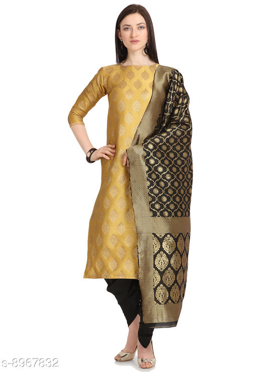 Suits & Dress Materials Trendy Collection Jacquard Woven Salwar Suit Material For Women-Yellow( Suit- 2 MTR, Salwar-2 MTR, Dupatta-2.20 MTR)  *Top Fabric* Jacquard + Top Length  *Bottom Fabric* Taffeta Silk + Bottom Length  *Dupatta Fabric* Jacquard + Dupatta Length  *Lining Fabric* Jacquard  *Type* Un Stitched  *Pattern* Woven Design  *Multipack* Single  *Sizes Available* Un Stitched *    Catalog Name: Alisha Pretty Salwar Suits & Dress Materials CatalogID_1544788 C74-SC1002 Code: 168-8967832-9921