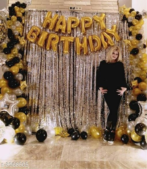 Solid Happy Birthday Letter Foil Balloon Set of Gold + 2Pcs Silver Fringe Curtain (3 X 6 Feet) + Pack of 30 pcs Metallic Balloons (Black,Silver,Gold )HDMetallic Balloons(Multicolor, Pack of 45)