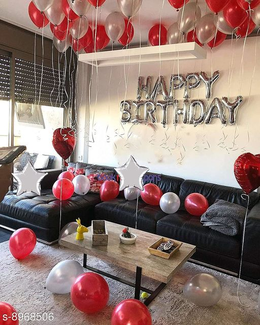 Solid Happy Birthday Letter Foil Balloon 13 Letter Set ( Silver ) + Pack of 30 Pieces Red Balloons Letter Balloon  (Silver, Red, Pack of 43)