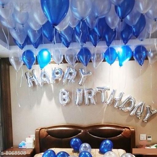 Solid Happy Birthday Letter Toy Foil Balloon Set with 30 HD Metallic Blue Silver Balloons Kit with free magic candle (Set of 53) Balloon