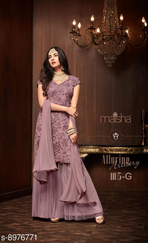 Purple Soft Net Pakistani Sharara Style Suit
