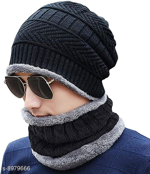 Fashcart Black Cap And Scarf With Grey Border For Men and Women