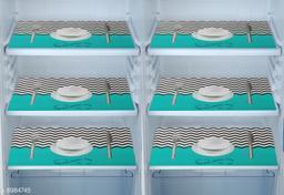 Fridge Mats Set of 6 Pcs for Single Door Fridge (Size: 12X17 Inches, Color : Blue)