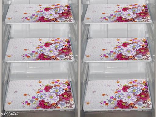 Fridge Mats Set of 6 Pcs for Single Door Fridge (Size: 12X17 Inches, Color : Multicolor)