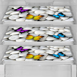 Fridge Mats Set of 3 Pcs for Single Door Fridge (Size: 12X17 Inches, Color : Multicolor)