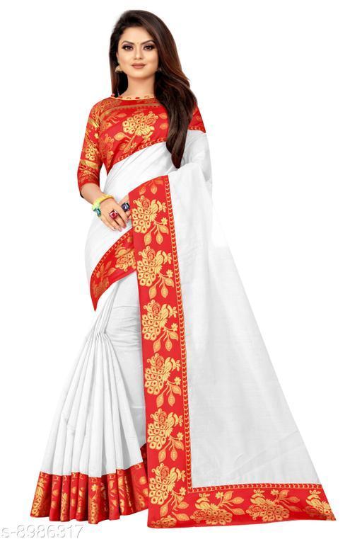 Wazood Women's Chanderi Cotton silk Saree With Blouse Piece