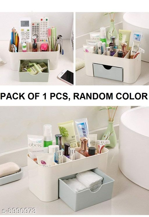 Box Storage  Desktop Multi Functional COSMETIC BOX Tidy Organiser Holder with Drawer - ( 1 PCS, Random Color ) Material: Plastic Pack: Pack of 1 Sizes Available: Free Size    Catalog Name: Trendy Storage Boxes CatalogID_1550382 C131-SC1625 Code: 372-8990973-993