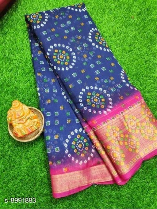 Sarees Trendy Cotton Bandhani Women's Saree  *Saree Fabric* Cotton Bandhani  *Blouse* Running Blouse  *Blouse Fabric* Cotton Bandhani  *Pattern* Printed  *Blouse Pattern* Printed  *Multipack* Single  *Sizes*   *Free Size (Saree Length Size* 6.10 m)  *Sizes Available* Free Size *    Catalog Name: Trendy Fashionable Cotton Bandhani Women's Sarees CatalogID_1550621 C74-SC1004 Code: 554-8991883-