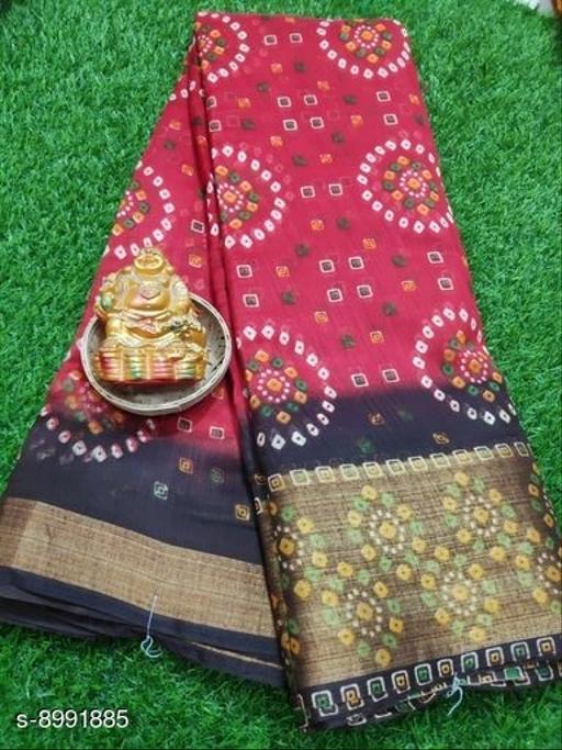 Sarees Trendy Cotton Bandhani Women's Saree  *Saree Fabric* Cotton Bandhani  *Blouse* Running Blouse  *Blouse Fabric* Cotton Bandhani  *Pattern* Printed  *Blouse Pattern* Printed  *Multipack* Single  *Sizes*   *Free Size (Saree Length Size* 6.10 m)  *Sizes Available* Free Size *    Catalog Name: Trendy Fashionable Cotton Bandhani Women's Sarees CatalogID_1550621 C74-SC1004 Code: 554-8991885-