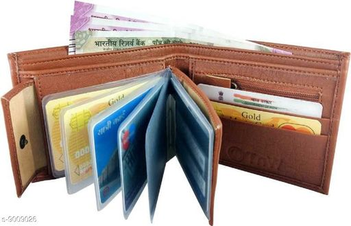 Trendy Men's Orange Leather Wallet