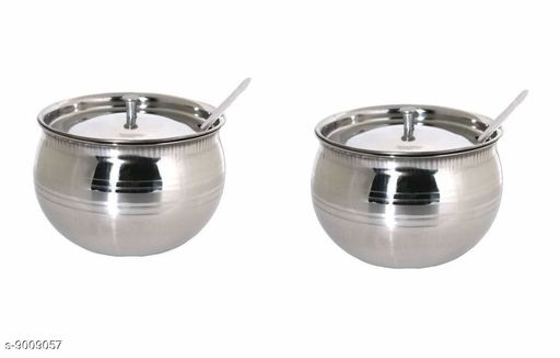 S S Gheedani with Spoon 200ml Silver -  Set of 2