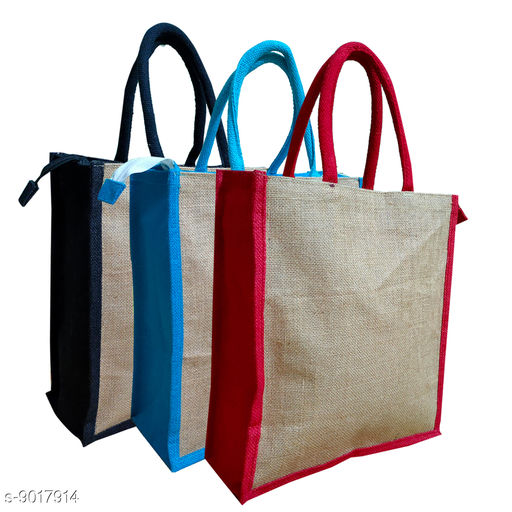 Eco-friendly jute Lunch bags with Zipper(pack of 3)