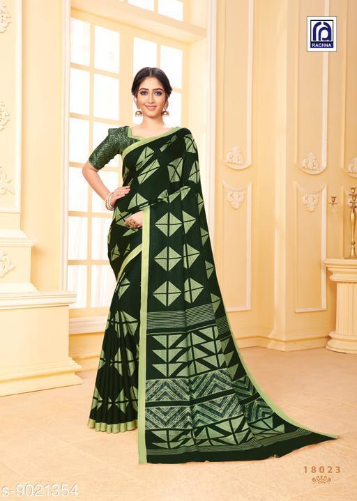 Rachna Women Pashmina Geometric Printed Dark Green Saree with Stole