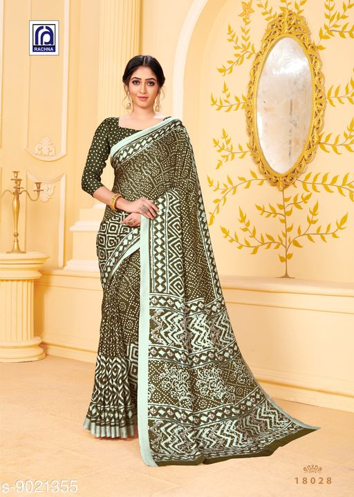 Rachna Women Pashmina Batik Printed Dusty Green Saree with Stole