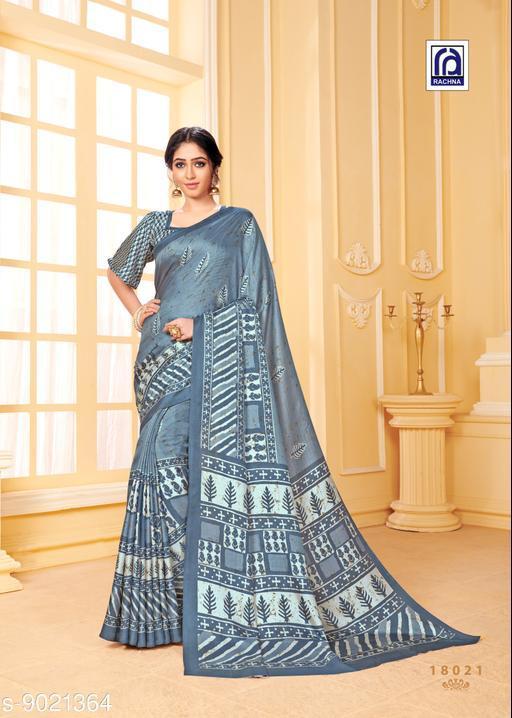 Rachna Women Pashmina Dabu Printed Grey Saree with Stole