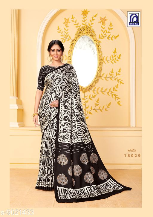 Rachna Women Pashmina Abstract Printed White and Black Saree with Stole
