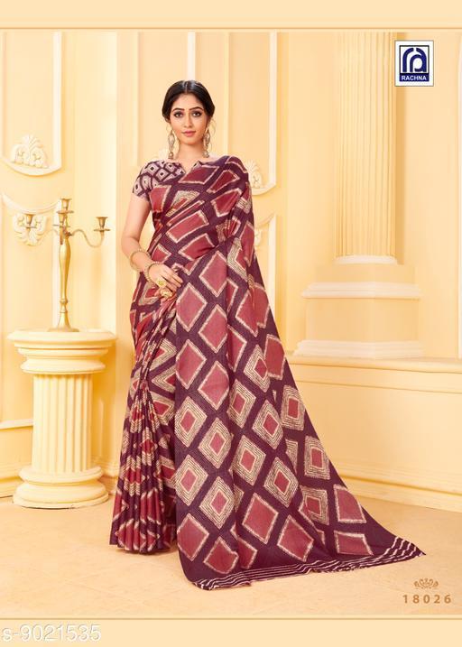 Rachna Women Pashmina Geometric Printed Wine Saree with Stole