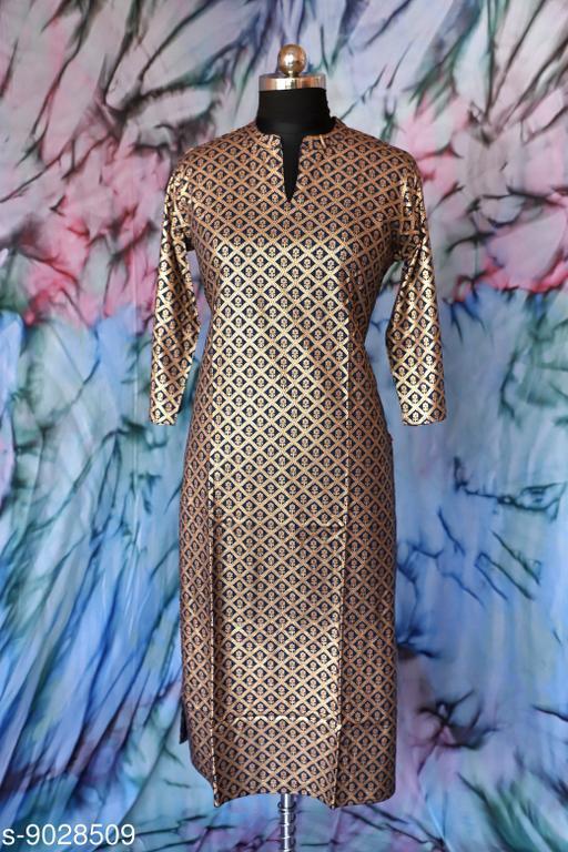 Kurtis & Kurtas Surya Creation - Women's A-line Dress Floral Golden Print Tunic Ethnic Wedding Wear Suit Indian Brown Color.  *Fabric* Rayon  *Combo of* Single  *Sizes*  M  *Sizes Available* Free Size, XXS, XS, S, M, L, XL, XXL *    Catalog Name: Aakarsha Alluring Kurtis CatalogID_1559816 C74-SC1001 Code: 246-9028509-997
