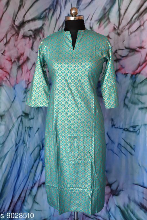 Kurtis & Kurtas Surya Creation - Women's A-line Dress Floral Golden Print Tunic Ethnic Wedding Wear Suit Indian Green Color.  *Fabric* Rayon  *Combo of* Single  *Sizes*  M  *Sizes Available* Free Size, XS, S, M, L, XL, XXL, 10XL *    Catalog Name: Aakarsha Alluring Kurtis CatalogID_1559816 C74-SC1001 Code: 246-9028510-997