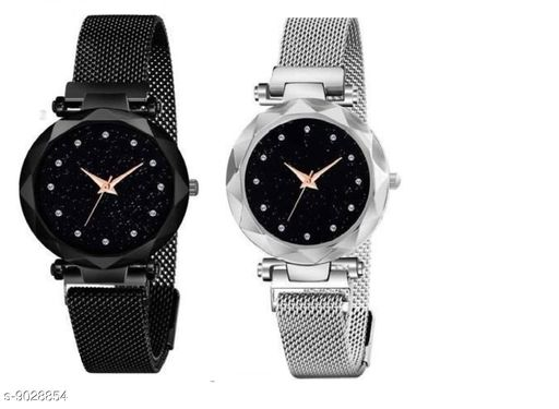 magnet combo watch for women(black and silver)
