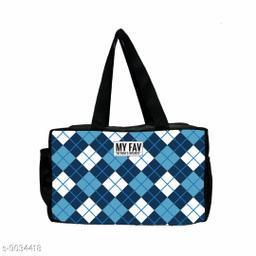 Ikkat Print Blue Black Polyester Lunch Bag