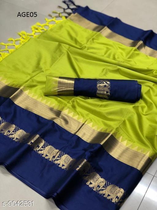 Designer  Soft silk saree with zari border pattern
