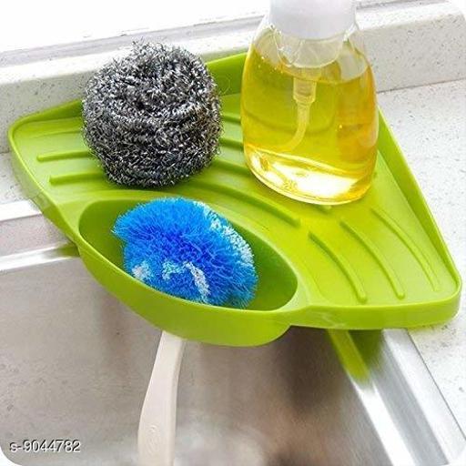 Multipurpose Plastic Kitchen Sink Organizer Corner Tray (Large, Green)