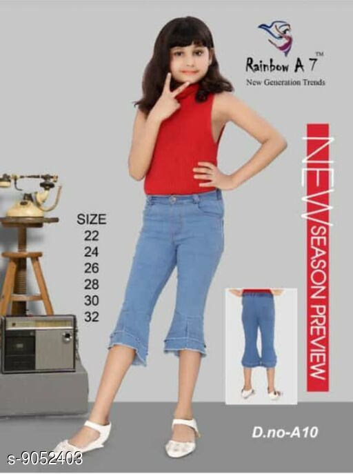 Jeans & Jeggings Stylish Girl Kids Denim Jeans   *Fabric* Denim  *Pattern* Solid  *Multipack* Single  *Sizes*   *Free Size (Length Size* 22 in)  *Sizes Available* Free Size *    Catalog Name: Cute Fancy Girls Jeans & Jeggings CatalogID_1565349 C62-SC1154 Code: 707-9052403-
