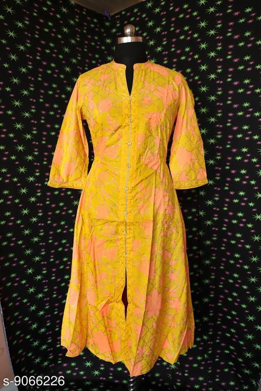 Kurtis & Kurtas Surya Creation - Women's A-line Dress Floral Golden Print Tunic Ethnic Wedding Wear  *Fabric* Rayon  *Sleeve Length* Three-Quarter Sleeves  *Combo of* Single  *Sizes*  M  *Sizes Available* M *    Catalog Name: Aishani Ensemble Kurtis CatalogID_1568798 C74-SC1001 Code: 666-9066226-998