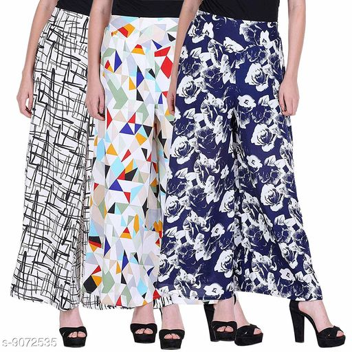 Women's/Girls Wide Leg Printed Crepe Palazzo/Trouser with Lining and Pocket