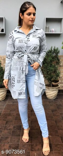 Trendy Paper Print Front Open Collared Dress For Women
