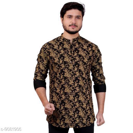 Made In The Shade Men's Casual Regular Fit Cotton Short Kurta, Printed Black Color