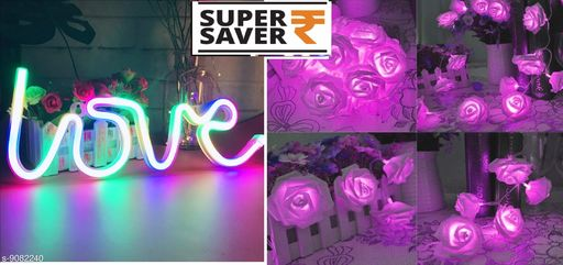 Diwali Lightings OVI LOVE NEON LED with USB (Multicolor)  Light Sign for Room Decoration Accessory, Table lamp, romantic, valentine, birthday Decoration, Gifts, Night Light + 33 Led Rose Flower Waterproof Fairy String Light 16ft 33 LEDs Battery Operated Night Diwali Light for Decoration purple  *Product Name* OVI LOVE NEON LED with USB (Multicolor)  Light Sign for Room Decoration Accessory, Table lamp, romantic, valentine, birthday Decoration, Gifts, Night Light + 33 Led Rose Flower Waterproof Fairy String Light 16ft 33 LEDs Battery Operated Night Diwali Light for Decoration purple  *Brand Name* Pack of 2  *Sizes*   *Sizes Available* Free Size *    Catalog Name: Pack of 2 / Pack of 1 Diwali Lightings CatalogID_1572456 C98-SC1377 Code: 556-9082240-
