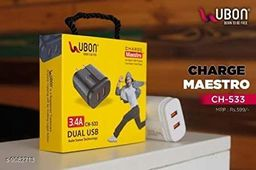 UBON 3.4A Extra Fast Charger, Dual USB with Auto Sense Technology & 1 Year warranty