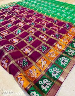 Traditional Woven Patola Cotton Blend Saree With Unstitched Blouse Piece