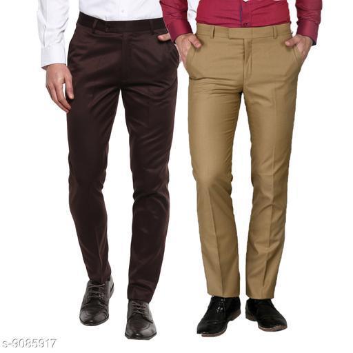 Inspire Pack Of 2 Formal Trousers (Brown & Khaki)