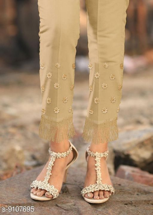 Ethnic Bottomwear - Churidar Pants Pearl Work Designer Cigarette Churidar pants  *Fabric* Pure Jam Satin Cotton  *Pattern* Embellished (Pearl Work)  *Multipack* 1  *Sizes*   *XL * (Can Wear Up to 40 to 44)  *40 (Waist Size* 40 in, Length Size  *42 (Waist Size* 42 in, Length Size  *44 (Waist Size* 44 in, Length Size  *Sizes Available* 42 *    Catalog Name: Flouncy Women Churidar Pants CatalogID_1578240 C74-SC1016 Code: 854-9107695-