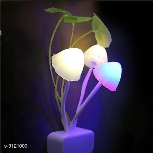Mushroom Shaped Color  Changing  LED Night Light Lamp, with Smart Sensor Auto on-Off (White) ( 1 PCS )