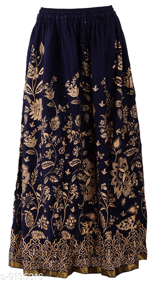 DIAMO Pure Rayon Rajasthani Jaipuri Block Gold Print Long Skirts