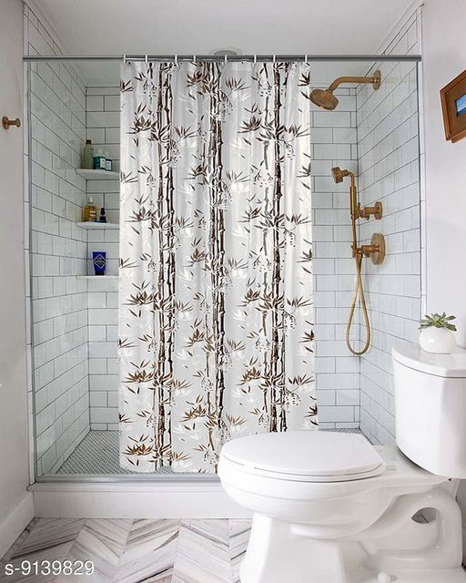 """Fabfurn Bamboo Leaf Design Waterproof Shower Curtain for Bathroom, 7 Feet PVC Curtain with 8 Hooks – 54""""x 84"""", Brown Color"""